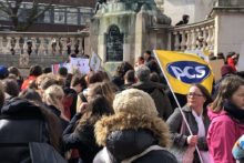 Hundreds gathered in Liverpool's Derby Square to demand an end to what they claim is the 'poverty pay' of cleaners.