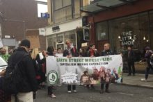 A local climate protest group went on a march in the city centre, targeting local branches of national businesses.