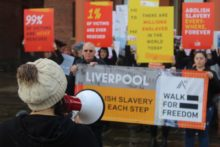 The plight of human trafficking victims was shared on the streets of Liverpool in a demonstration.