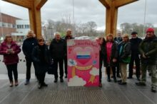 A huge Valentine's Day card expressing love for the NHS was delivered to Arrowe Park Hospital staff.