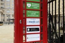 Telephone boxes have been transformed into life-saving defibrillators in the city centre.