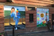 A mural tribute to Liverpool comedian Sir Ken Dodd has been revealed outside the Royal Court Theatre.