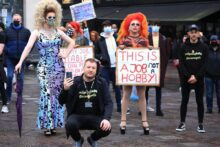 Liverpool's LGBTQ community, bar and nightclub owners staged a peaceful covid-friendly protest to fight for their jobs.