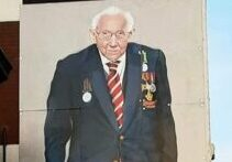 Fundraising hero Captain Sir Tom Moore has been immortalised by a three-story portrait in Southport town centre.