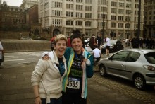 A Wirral woman is competing in the London Marathon after her close friend was diagnosed with blood cancer.