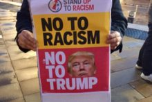 A small group of protesters hit town to demonstrate against President Donald Trump's UK state visit.