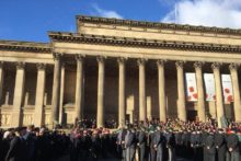 Thousands gathered outside the Cenotaph on St George's Plateau for the annual Remembrance Sunday service.