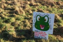A campaigner is creating anonymous signs in an attempt to save a local country park.