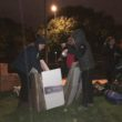 More than 100 people slept outside all night in atrocious conditions to help the city's homeless.