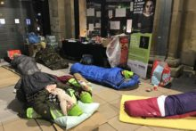 Up to 30 people braved freezing temperatures by taking part in a sleepout event at Liverpool Lime Street Station.