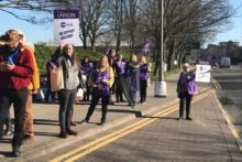More than 40 cleaners, catering workers, porters and security officers went on strike at Liverpool Women's Hospital.